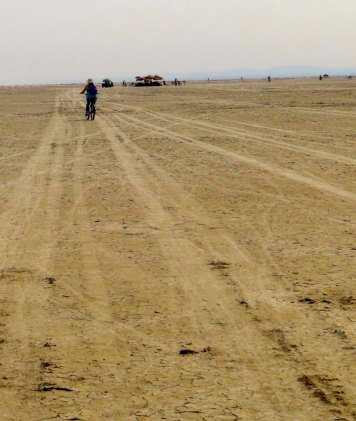 Our journey outward across the open Playa...