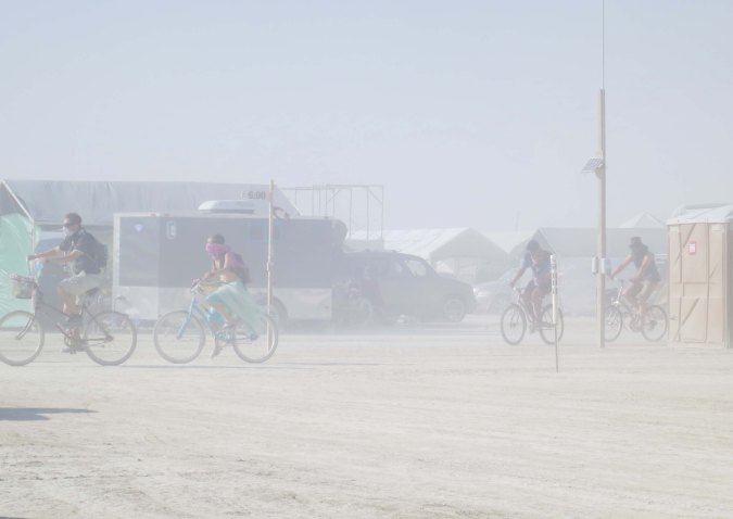 Dust storms are a common occurrence as the sun heats the air and winds start to blow in the afternoon. This photo is taken from our camp on G Street looking toward 6 street.