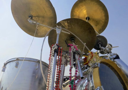 Drumset from the band Interstellar transmissions at Burning Man 2013.