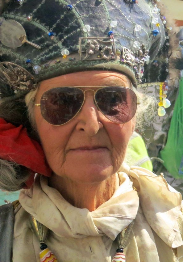 This elderly woman was beautifully dressed. Several hundred people over 70 attend Burning Man each year.