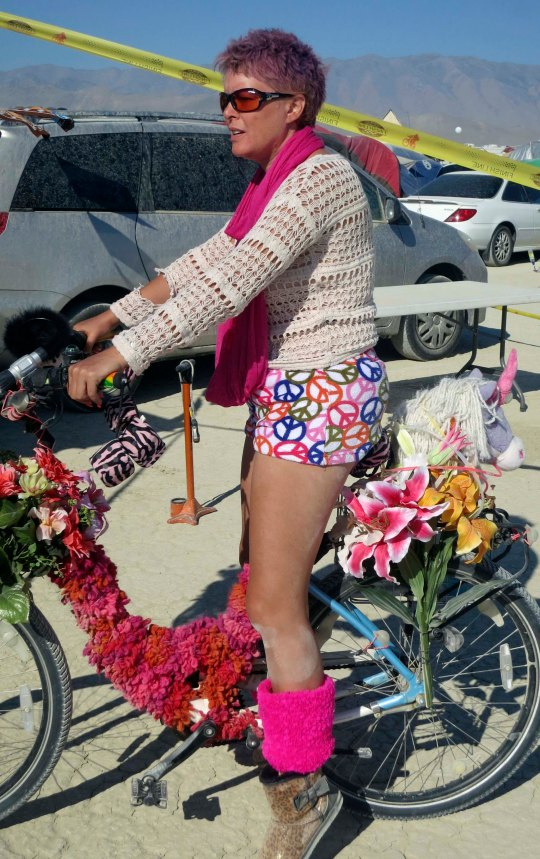 This is Punkin, who owns a bike shop in Davis, California. She had her decorated bike in the window of the shop for the month preceding Burning Man.