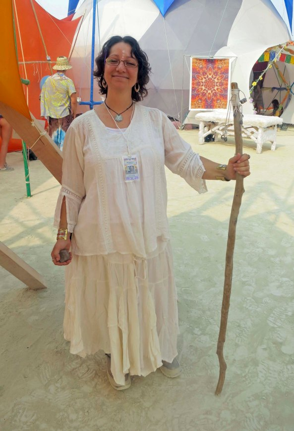 I wandered into the Sacred Spaces Camp and was greeted by this woman. The Sacred Spaces Camp includes artist, musicians, and specialists in alternative healing.