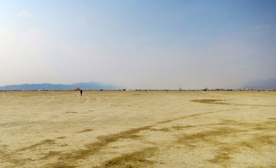 Looking toward Black Rock City from the outer fence at Burning Man 2013.
