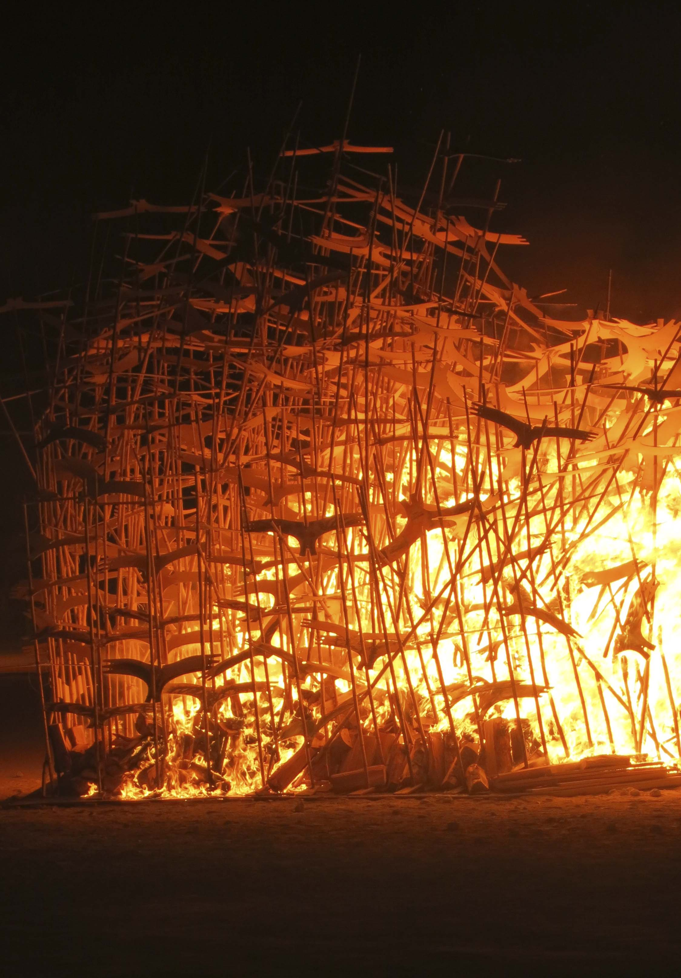 Burning of Lithuania's regional art at Burning Man 2013.