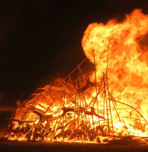 Burning of Lithuanian Regional art at Burning Man 2103.