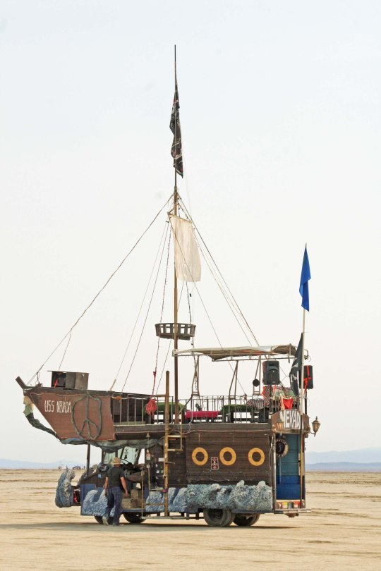 Boats are among the more common mutant vehicles at Burning Man. Here we have the USS Nevada. (Photo by Peggy Mekemson.)
