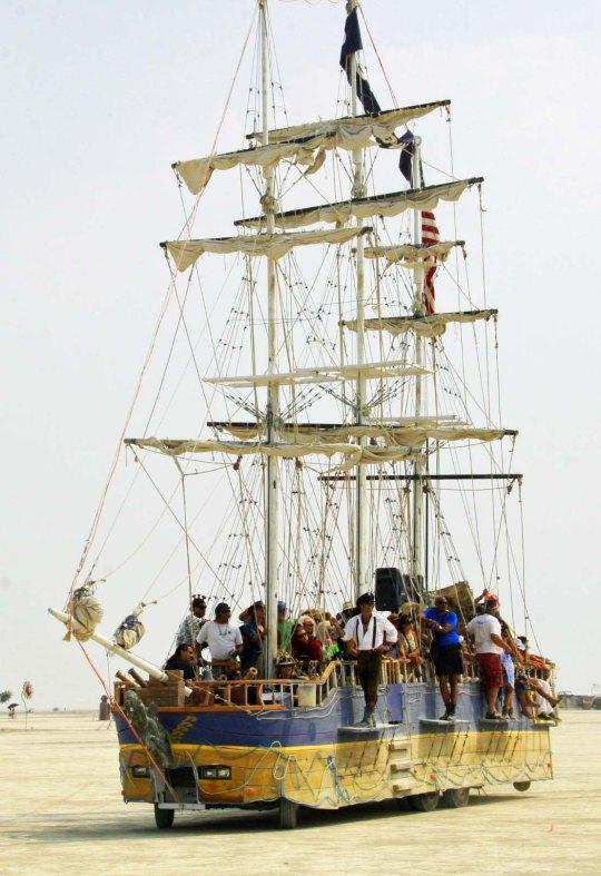 Detailed sail rigging on a Burning Man 2013 mutant vehicle.