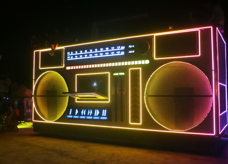 Mutant vehicle boom box at Burning Man 2013.