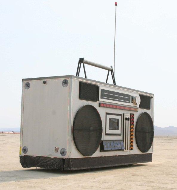 Boom box mutant vehicle at Burning Man 2013.