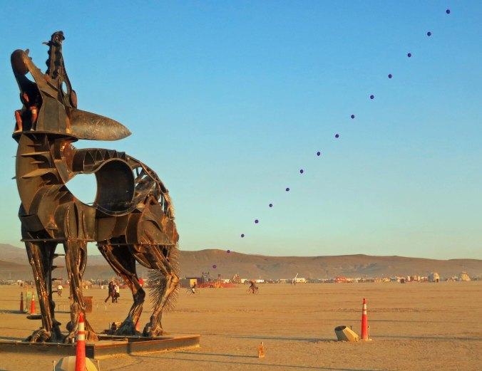 Coyote sculpture at Burning Man 2013.