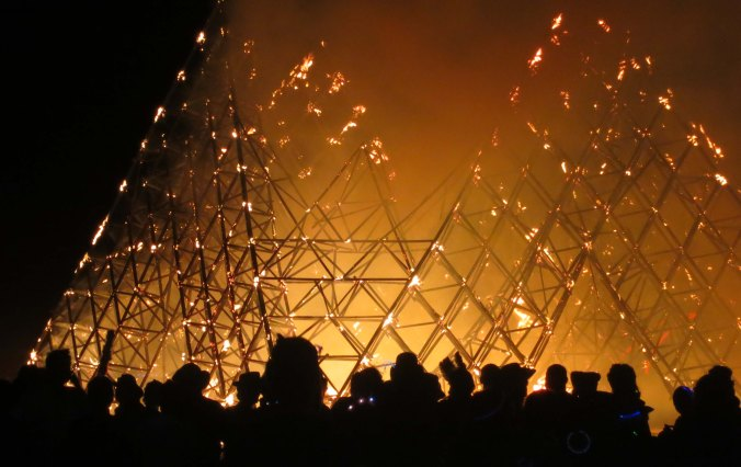 The Cradle of Mir burns at Burning Man 2013.