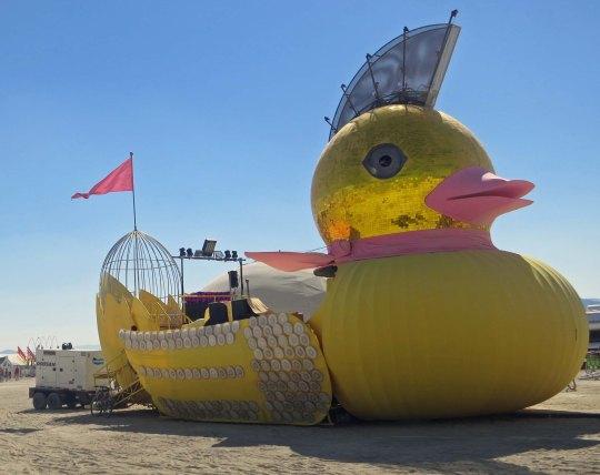 Big yellow baby duck mutant vehicle at Burning Man 2013.