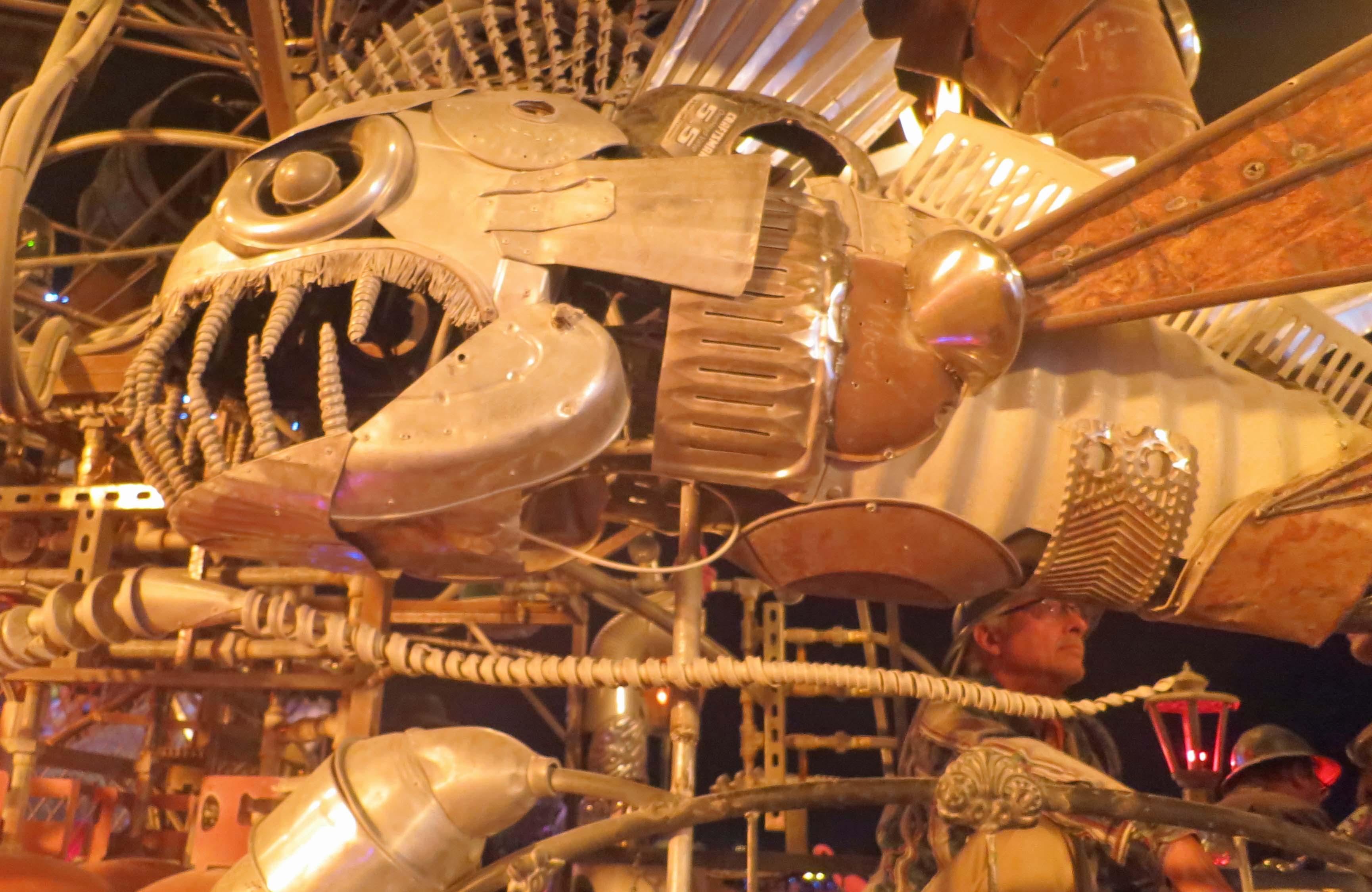 Fish sculpture on side of El Pulpo Mechanico at Burning Man 2013.