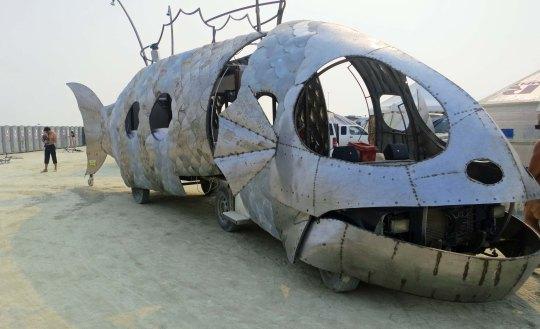 Large fish mutant vehicle at Burning Man 2013.