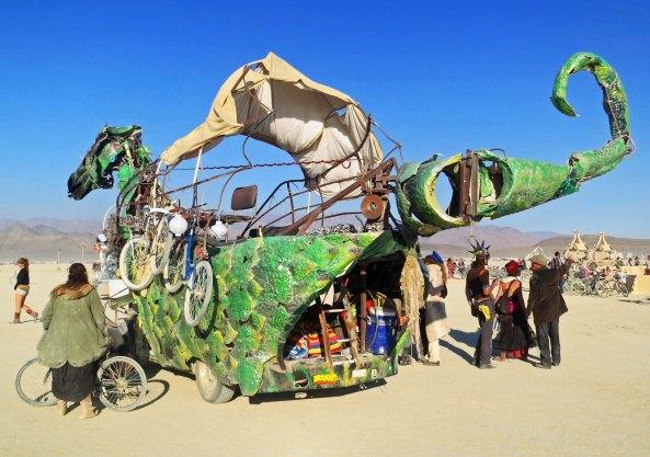 Green dragon mutant vehicle at Burning Man 2013.