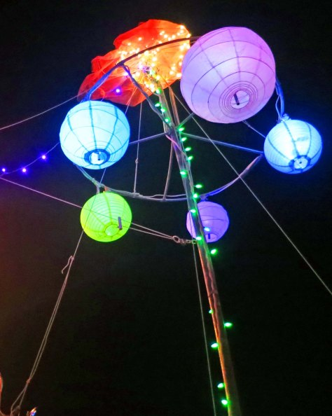 Hanging lanterns at Burning Man 2013.