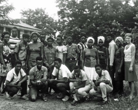 Our tenth and eleventh grade classes and Jo Ann at Gboveh High School in Gbarnga, Liberia (1967)
