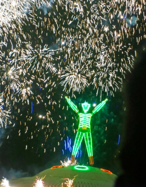 Fireworks above the Man on burn night at Burning Man 2013.