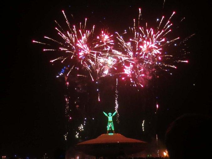 Fireworks at Burning Man 2013