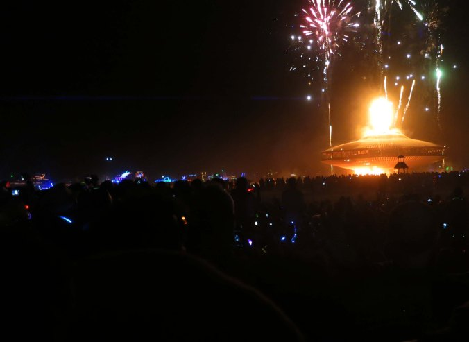The Man engulfed in intense flames at Burning Man 2103.