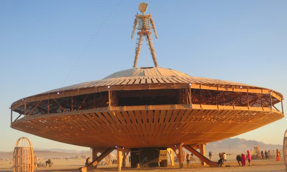The Man and his flying saucer at Burning Man 2013