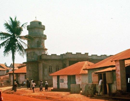 Mandingo mosque in Gbarnga, Liberia circa 1965.