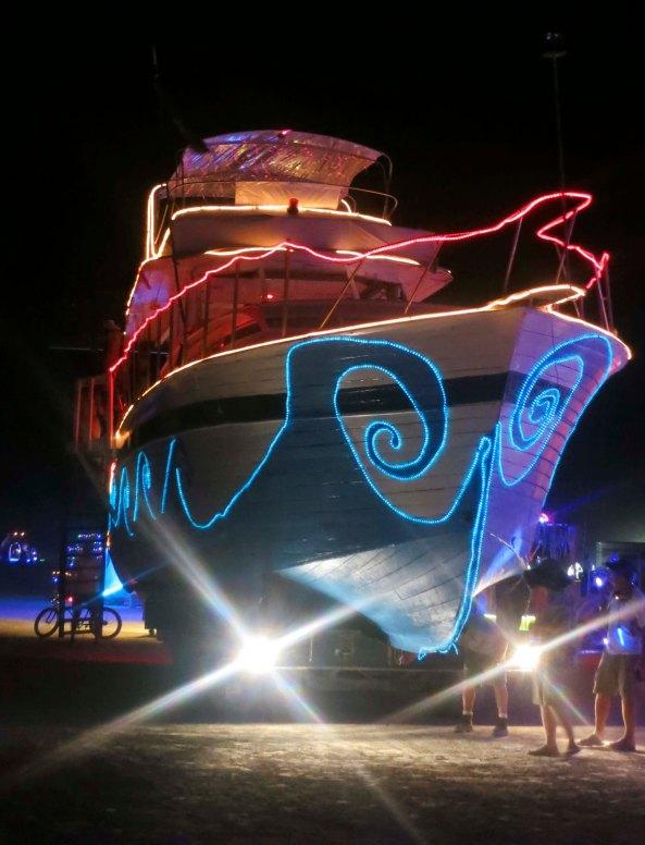 Ocean liner mutant vehicle at Burning Man 2013.