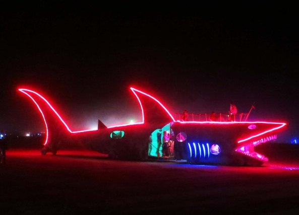 Mutant vehicle shark at Burning Man 2013.