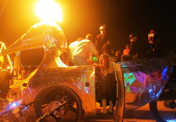 Duck spouting fire at Burning Man 2013.