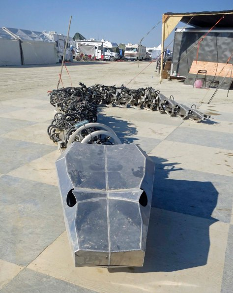 Metal snake at Burning Man.