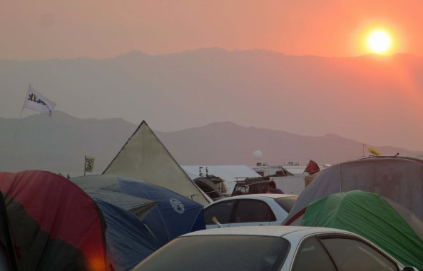 Sunset at Black Rock City, Burning Man 2013.