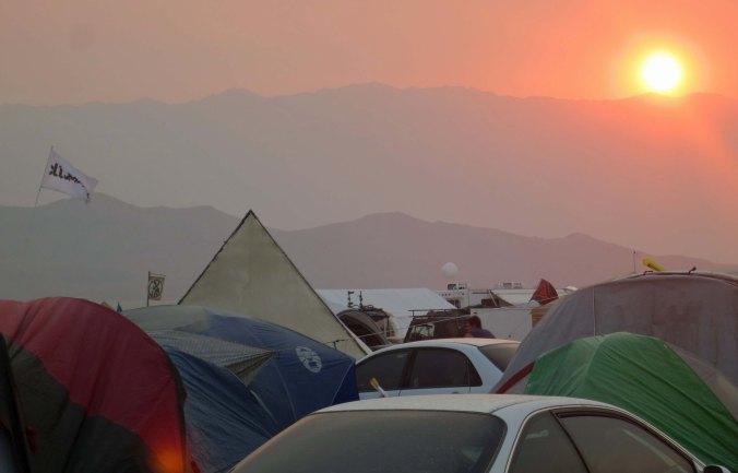 Sunset at Black Rock City, Burning Man 2013.