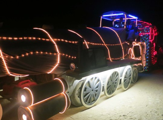 Mutant vehicle train at Burning Man 2013.