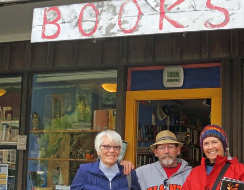 Leslie, Ken and Peggy stand in front of the Bolinas Bookstore named Books.