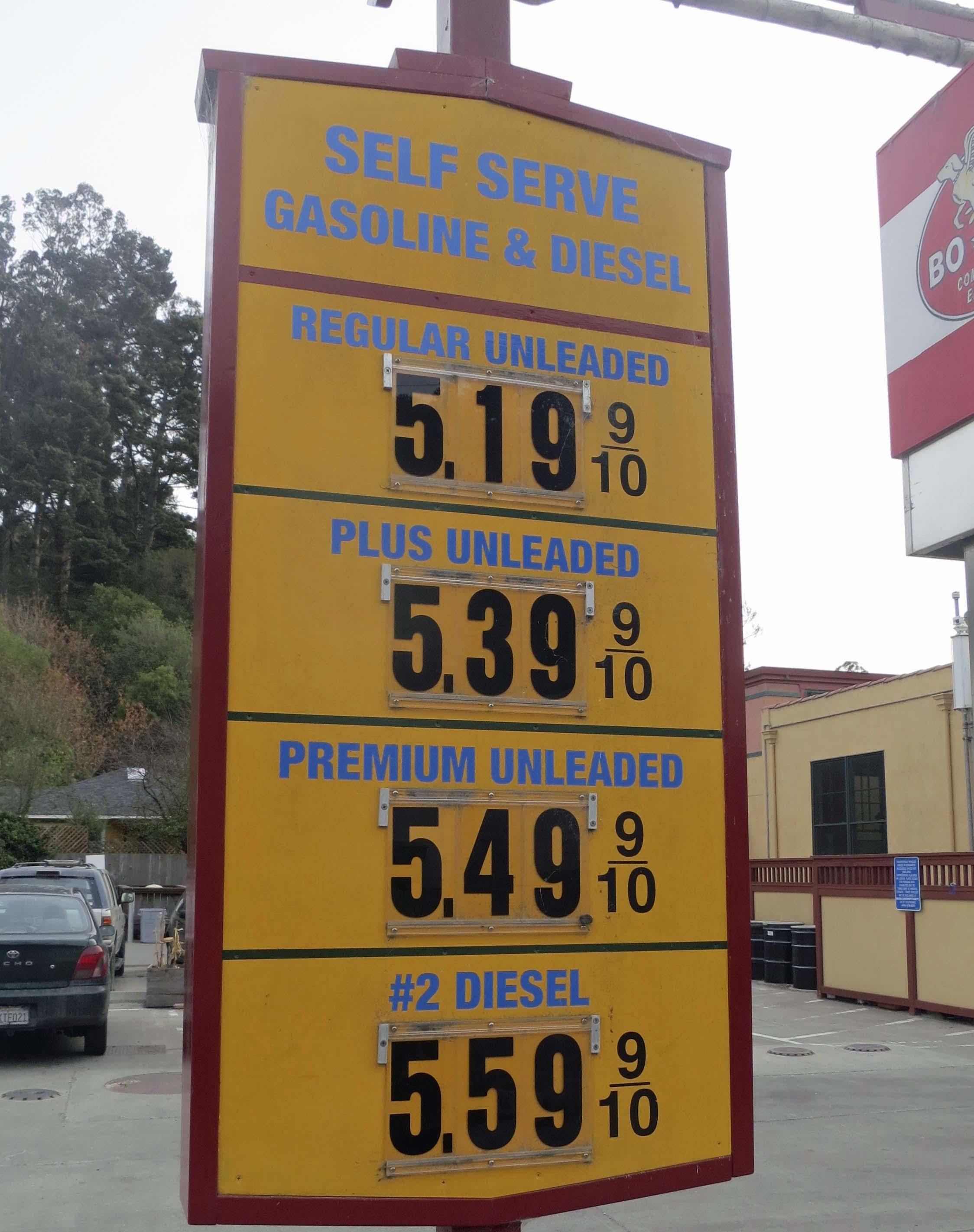 2013 gas prices in Bolinas, California. Photo by Curtis Mekemson.