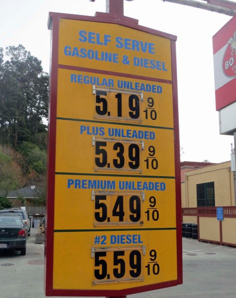 2013 gas prices in Bolinas, California. Photo by Curtis Mekemson.