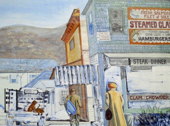 Mural of early Bolinas, California. Photo taken by Curtis Mekemson.