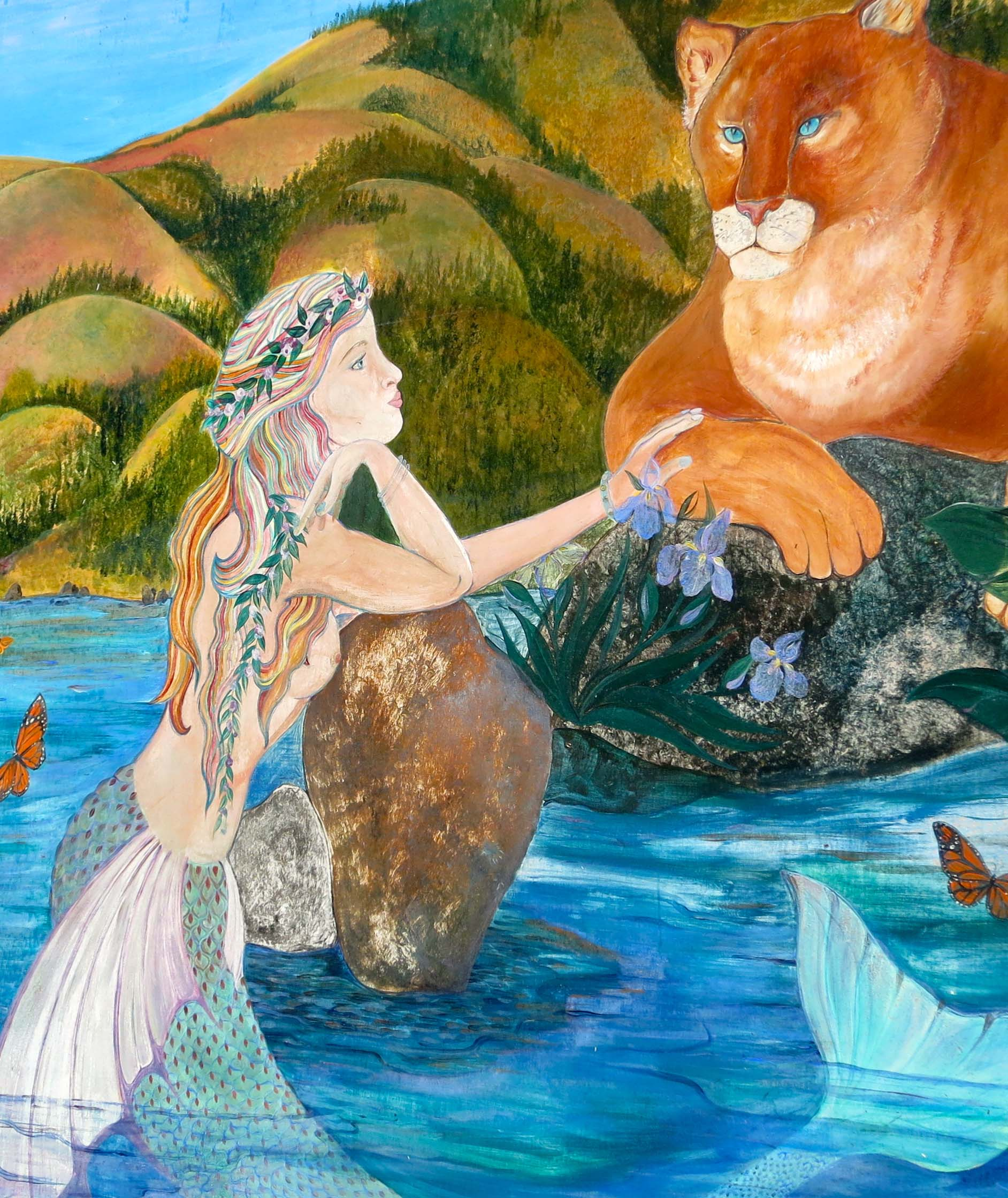 Mural of mountain lion and mermaid in Bolinas, California. Photo by Curtis Mekemson.