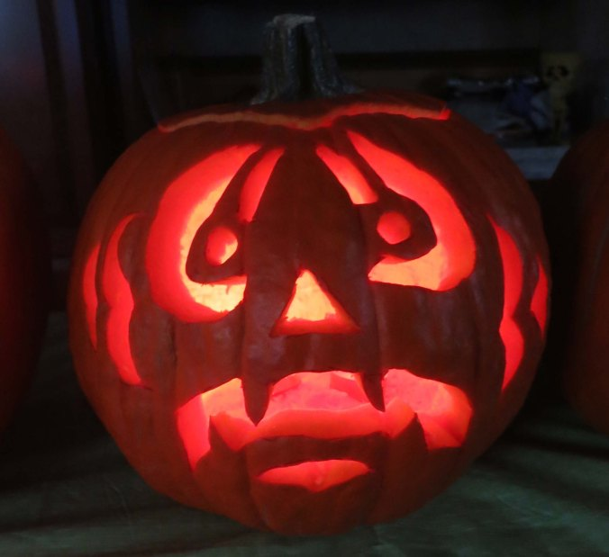 Peggy's pumpkin. (She won the contest. Our grandkids voted without knowing who had carved the pumpkins.)