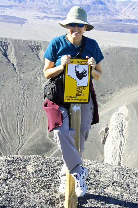 Warning sign at Ubehebe Crater, Death Valley. Photo by Curtis Mekemson.