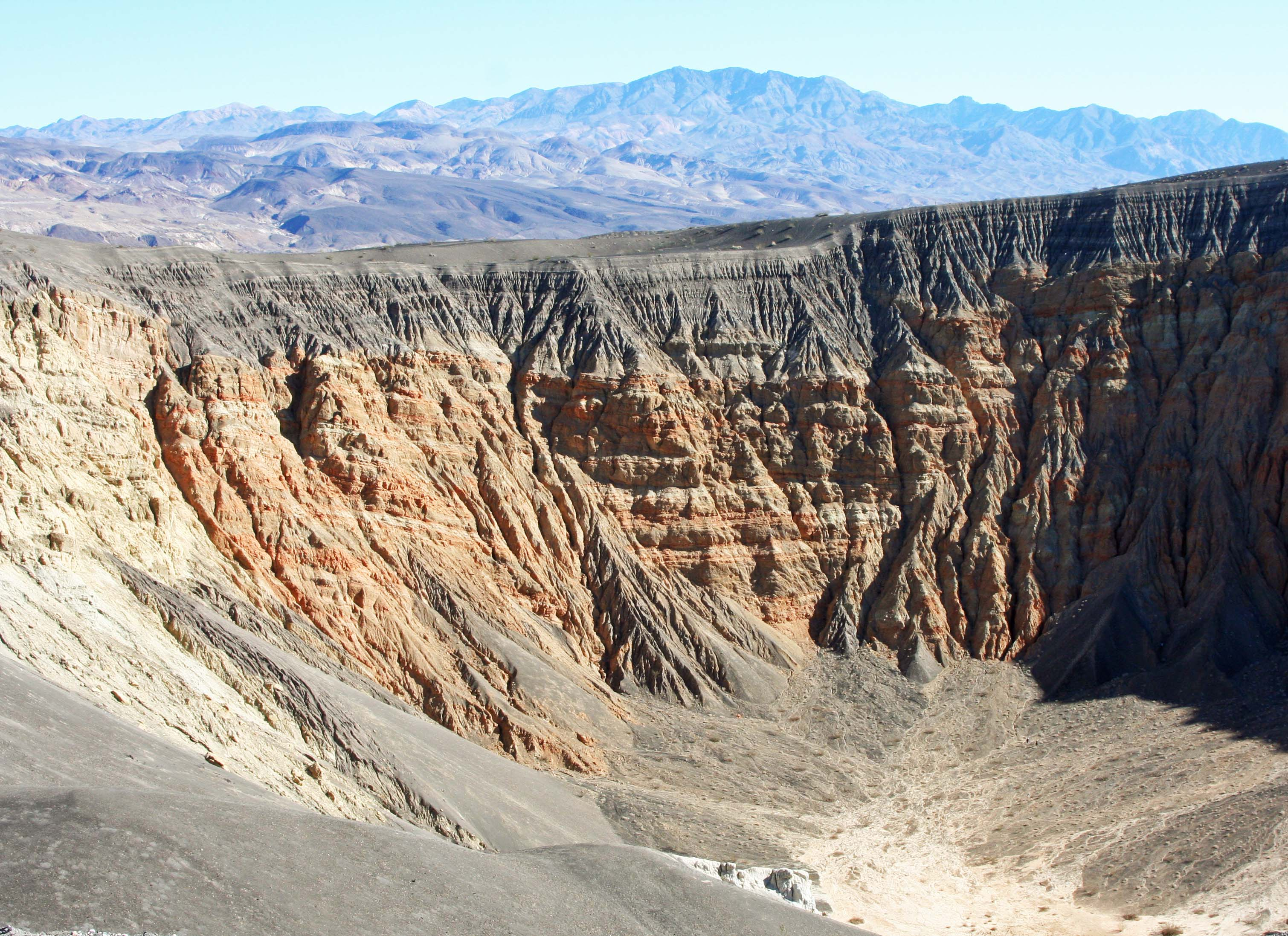 Traveling north, we come to Ubehebe Volcanic Crater, another of Death Valley's geological wonders. (Photo by Peggy Mekemson.)