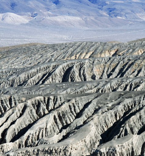 Erosion patterns near Ubehebe crater. Photo by Curtis Mekemson.