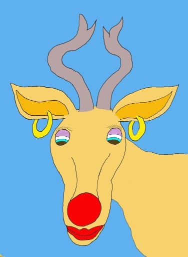 Rudolph as a girl reindeer card by Curtis Mekemson.