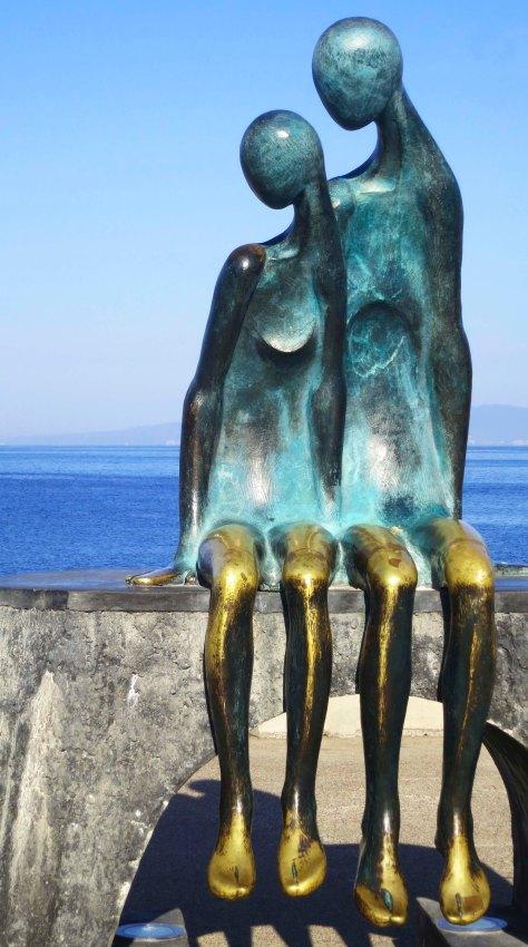 Photo of Puerto Vallarta sculpture Nostalgia by Ramiz Barquet. Photo by Curtis Mekemson.