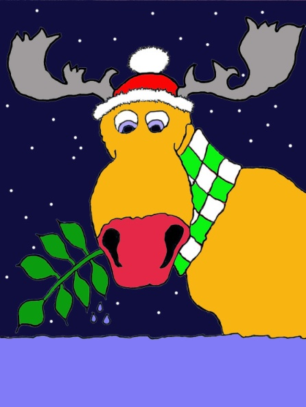 Monty the mauve nosed moose Xmas Card by Curtis Mekemson.