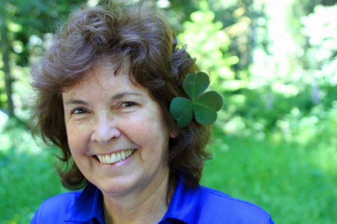 Peggy Mekemson wears a Redwood National Park clover in her hair. Photo by Curtis Mekemson.