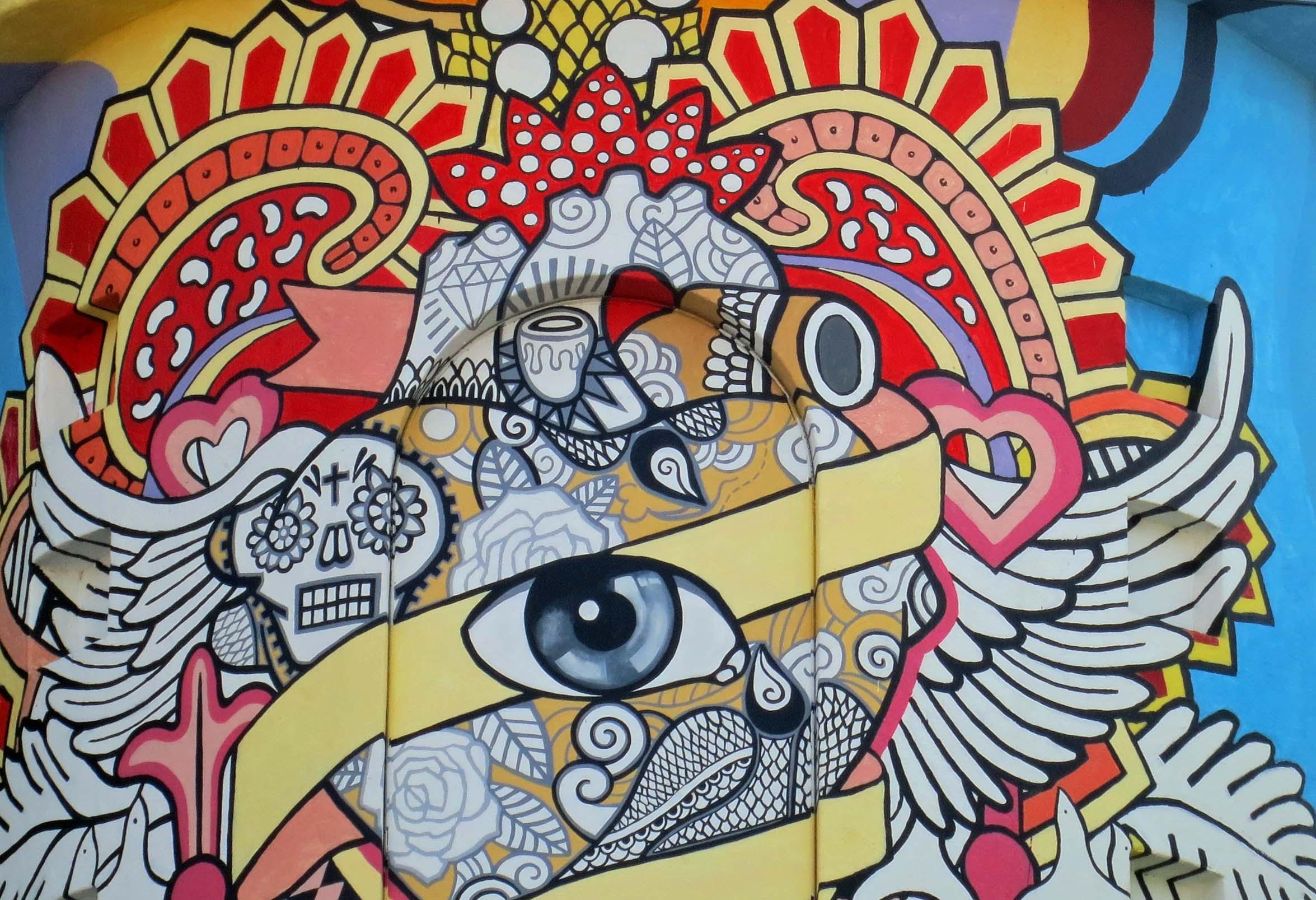Artist's Cafe mural in Puerto Vallarta. Photo by Curtis Mekemson.