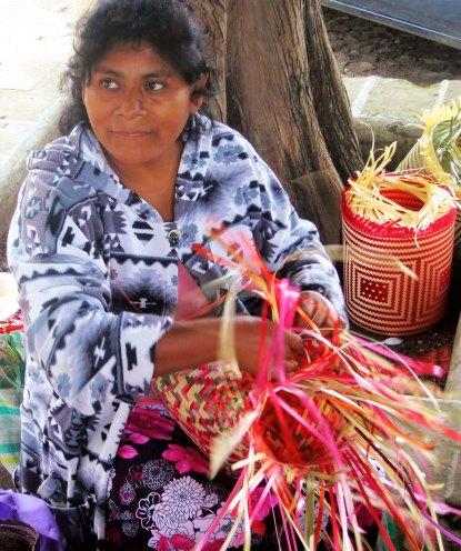 Basket weaver in San Sebastian, Mexico. Photo by Curtis Mekemson.