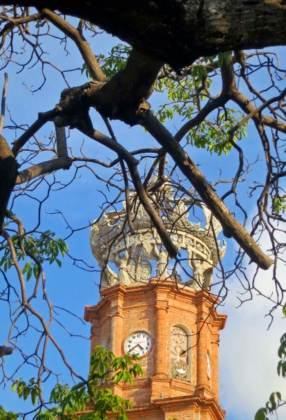 View of the Church of Our Lady of Guadalupe in Puerto Vallarta, Mexico through the trees. Photo by Curtis Mekemson.
