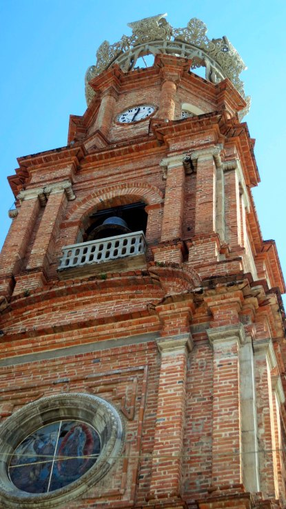 Looking up at the Church of Our Lady of Guadalupe in Puerto Vallarta, Mexico. Photo by Curtis Mekemson.